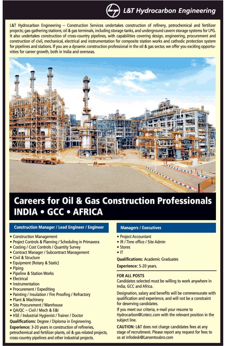 Opportunity for Oil & Gas Construction Professionals at L & T