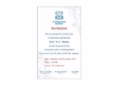 Felicitation Ceremony Prof B V Mehta